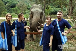 Guests at ethical elephant tour in Northern Thailand