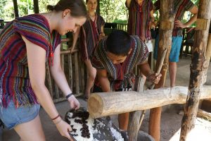 making elephant treats at elephant tour
