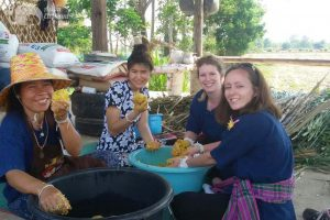 volunteers prepare food at ethical elephant sanctuary near Surin in Thailand