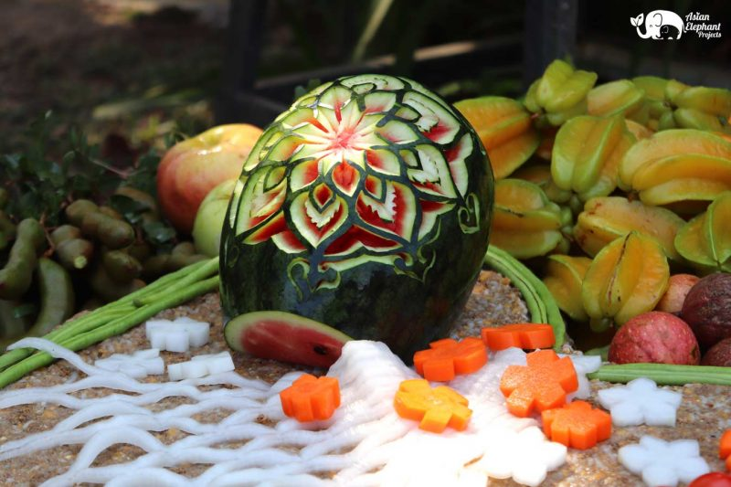 Fruit Carving Gourmet Elephant Cake from Care for Elephants